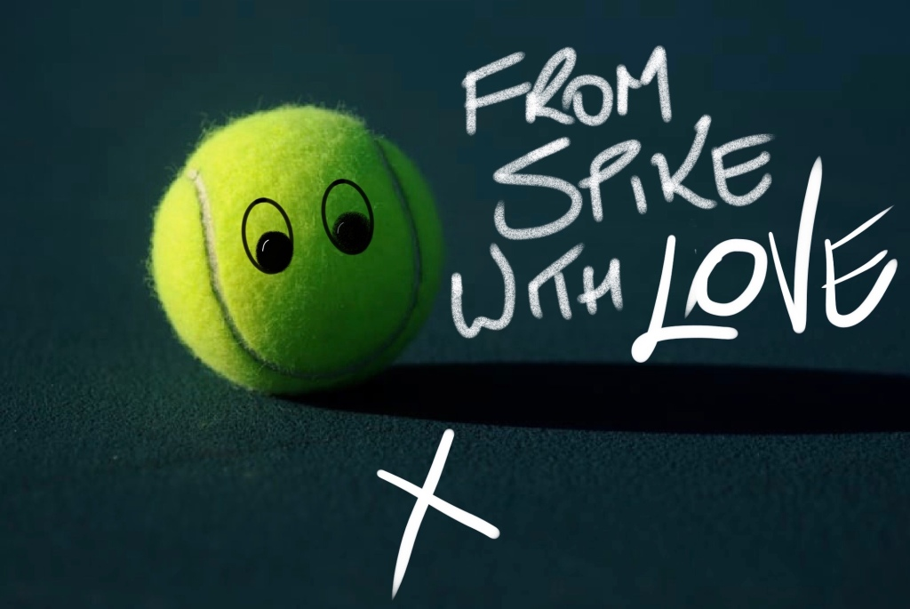 tennis ball with smiley face